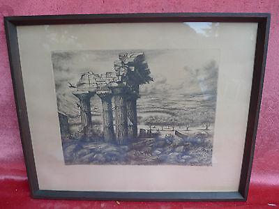 schönes, sehr altes Bild__Tempelruine__signiert__original Radierung !