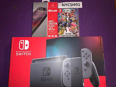 Nintendo Switch 32GB Console with Gray Joy‑Con And Super Smash Bros Bundle