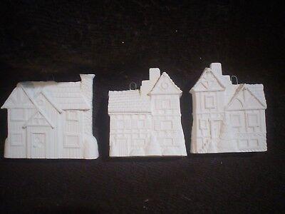 "D410 -Ceramic Bisque Ornaments- 3 Houses (2 3/4"" T) - 3D - Ready to Paint"