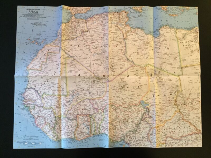 Vintage 1966 National Geographic Society Map of Northwestern Africa