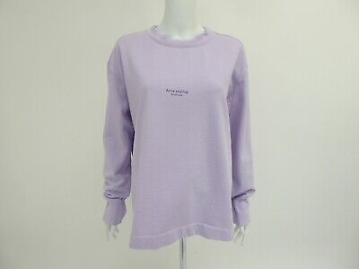 Acne Studios Women's Lilac Oversized Logo Sweatshirt Jumper Size XS