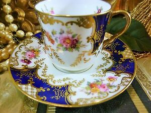 COALPORT-DEMITASSE-COFFEE-CUP-AND-SAUCER-BATWING-COBALT-HP-FLORAL-c1891-20-GOLD