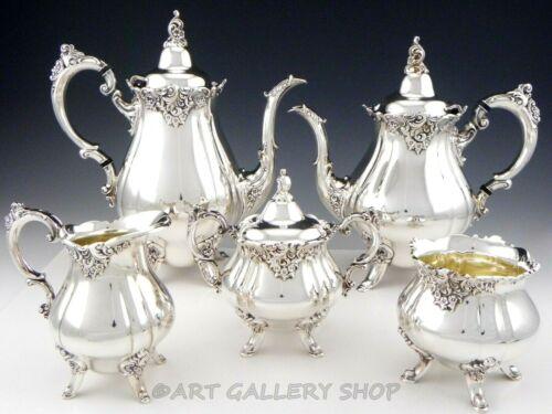 Vintage Wallace Baroque Silverplate TEA & COFFEE 5PC SET 281-285