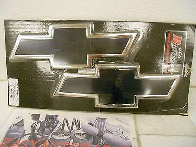 Chevy Bowtie Billet Aluminum Front Grille & Tailgate Emblem Black and Border