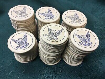 110+ Engraved Eagle Arrow Vintage POKER CHIPS -Old Antique Gambling