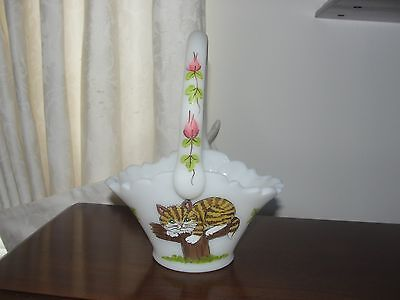 FENTON GLASS OOAK TABBY CAT AND PUPPY BASKET HP MARILYN WAGNER FREE SHIP