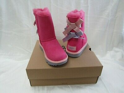 NIB/NEW UGG Australia Kids Girls Bailey Bow II Hot Pink Suede Boots Size 13
