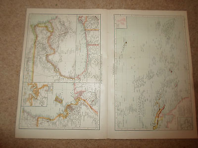Old Maps WEST AFRICA, COLONIAL MAP ~ POLYNESIA ~ From Universal Atlas 1893
