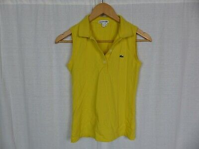 Lacoste Women's Yellow Sleeveless Polo Shirt Tank Top Cotton Blend Size 34 SMALL