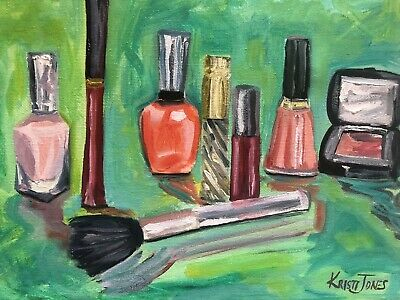 Warpaint | Small Oil Painting Makeup Cosmetics Vanity Art Kristi Jones lipst Artists Originals Vanity