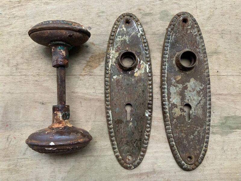 SET VINTAGE ANTIQUE OVAL DOOR KNOBS STEEL METAL DOOR BACK PLATES BEADED