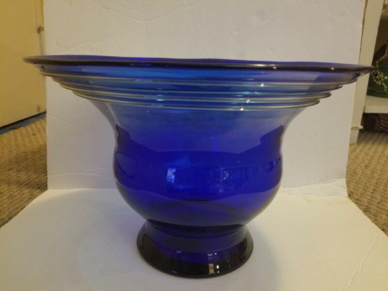 Blenko Handmade Cobalt Blue Hand Blown Large Centerpiece Bowl Art Glass