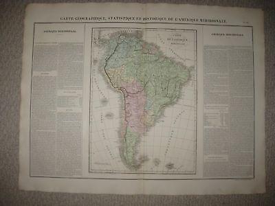HUGE IMPORTANT FOLIO ANTIQUE 1825 SOUTH AMERICA CARY & LEA MAP BRAZIL ARGENTINA