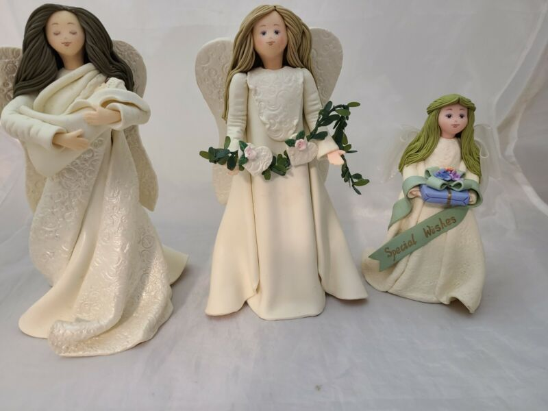 Lot of 3 Kneeded Angel Figurines Pavilion Gifts Special Wishes-Miracles-Love