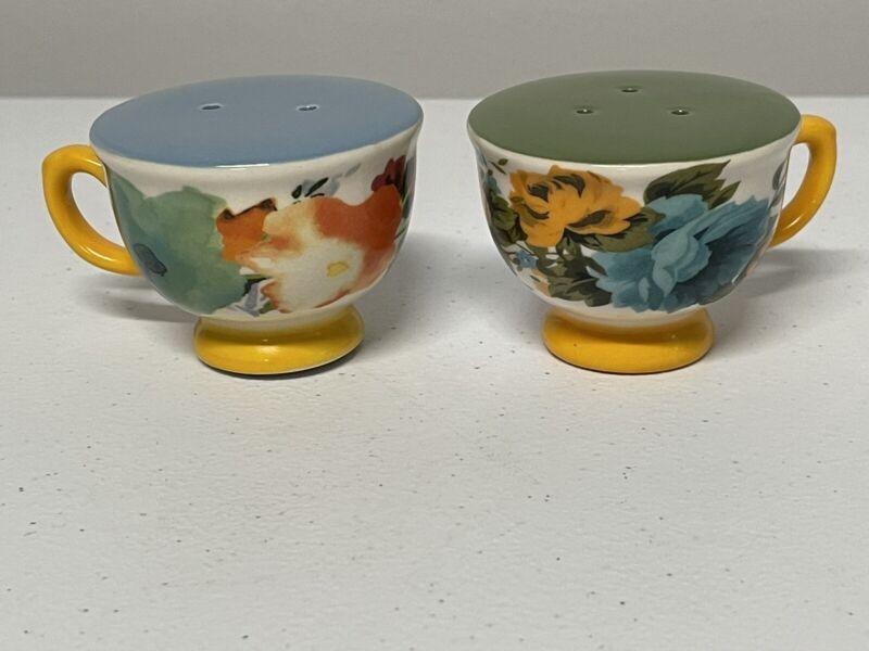 Pioneer Woman Rose Shadow Floral Tea Cup Salt & Pepper Shakers - Stoneware