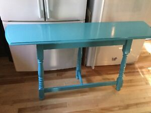 Bright blue Sofa table