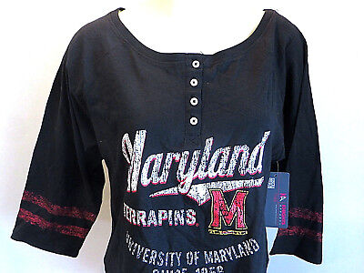 Maryland Terrapins T Shirt Black Boat Neck College Football Womens Size M New