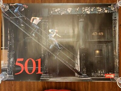 Near Mint VTG 1986 Levis 501 NYC New York Fire Escape 34 x 22 Poster