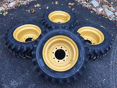 4 New 10-16.5 Skid Steer Tireswheelsrims For Caterpillar 216-226 - Cat 10x16.5