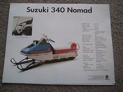 SUZUKI SNOWMOBILE 340 NOMAD/292 NOMAD FACTORY SALES BROCHURE NOS!
