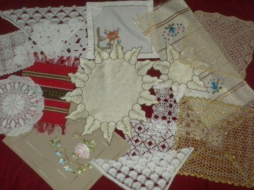 Antique 15 pcs Lot Of Handmade Crochet Lace Corner, Doilies, Embroidery