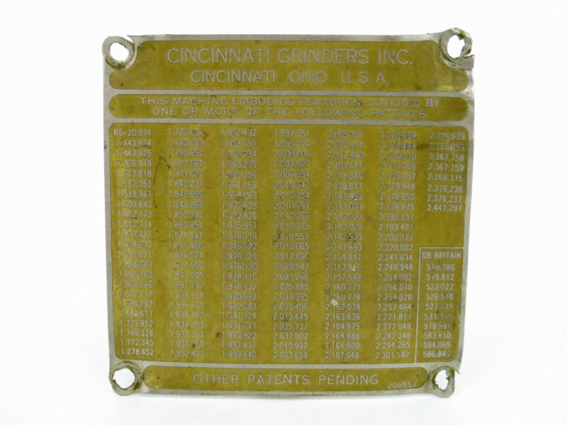 Cincinnati, Ohio Grinders Inc. USA Vintage Brass Machine Plate Sign Emblem old