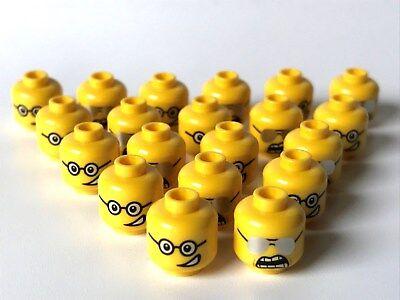 LEGO ®  20 x Kopf, männlich, beidseitig bedruckt, offener Mund mit Brille (K29) ()