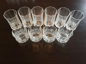 Set of 20 fine crystal wine and whiskey glasses.