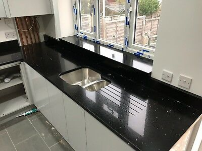Stardust Black Sparkling Quartz Kitchen Worktop   3000mm x 700mm x30mm