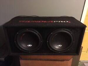 """2 12"""" mtx thunder pro 2 subwoofers with amp and capacitor"""