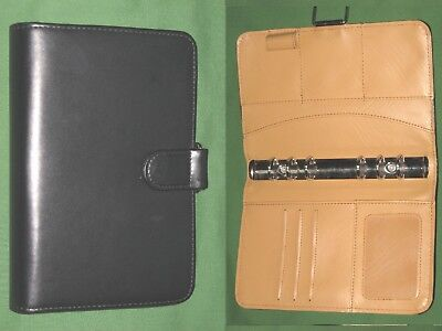 Compact 1.0 Black Tan Faux Leather Day Runner Planner Binder Franklin Covey