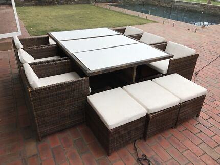 outdoor dining setting 12 seat with powder coated aluminium table top
