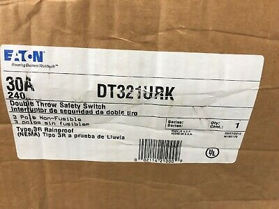 Cutler Hammer Dt321urk 3p 240v 30a Manual Transfer Switch Non-fused Nema 3 New