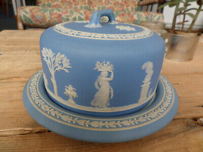 Wedgwood Jasperware Keeper Cheese Dessert Dome Plate Cake Dish Covered Blue 1866