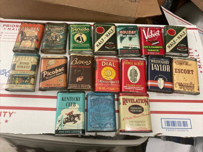 Vintage Tobacco Tin Lot Rare Vertical Pocket Great Graphics Advertising Set 17