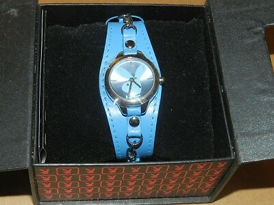 PLAYBOY Watch blue strap BUNNY Face chain design - Bunny Face Design