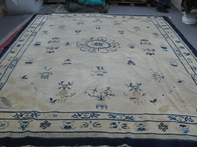 Antique Chinese Ningsia Pekin Hand Knotted Wool Oriental Rug 9