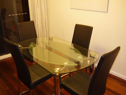 Nick Scali Glass Dining Table and Chairs