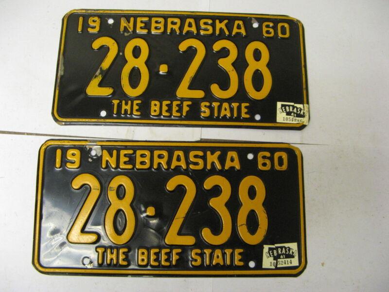 1960 60 1961 61 Nebraska NE License Plate Pair 28-238 Hamilton County
