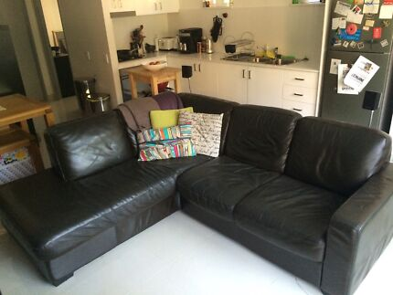 Dark Brown Leather Couch Artarmon Willoughby Area Preview