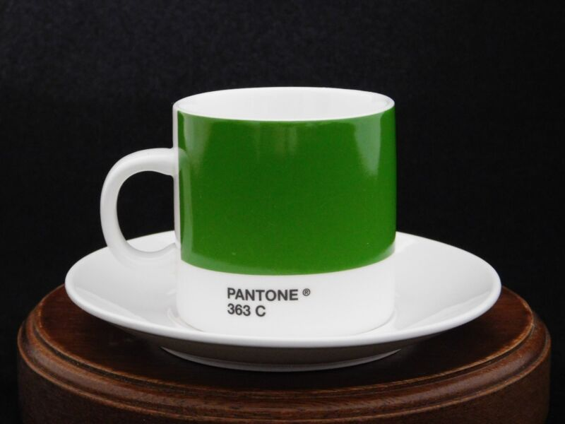 Pantone Coffee Series Green 363 C Espresso Cup & Saucer by Whitbread Wilkinson