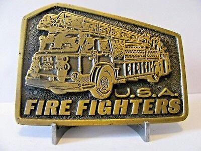 Fire Fighters Aerial Ladder Engine Truck Brass Belt Buckle Department NYFD 937