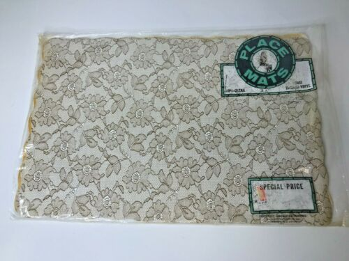 """Vintage Set of 8 Vinyl Lace Look Placemats with Foam Backing 11 x 17"""""""