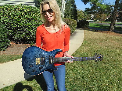 Prs Private Stock Custom 24 Indigo Blue Flame Lapis Birds Ebony Freboard 2008