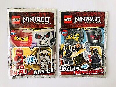 2x Lego Ninjago Minifigures in Polybag Kai vs Wyplash & Cole vs Nindroid Bundle