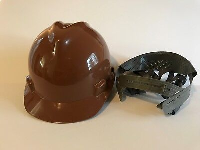 Msa 495854 Brown V-gard Slotted Hard Hat Protective Cap Staz-on Suspension