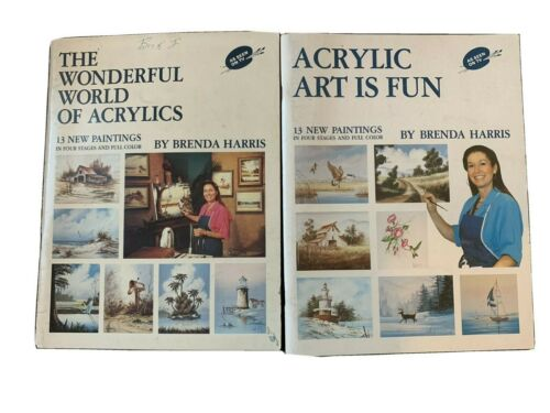 Lot of 2 Brenda Harris Acrylic Painting Tutorial / How To Books