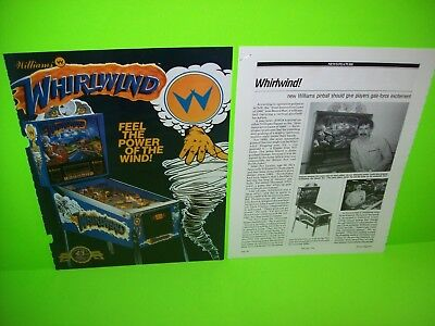 WHIRLWIND Pinball Machine Pull Out Ad 1990 Ready To Frame Art + EXTRA Williams