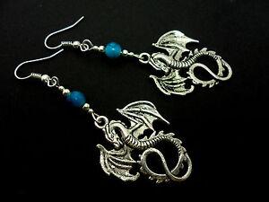 A PAIR OF TIBETAN SILVER DANGLY   DRAGON & TURQOISE BEAD  EARRINGS. NEW.