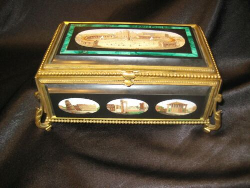 MAGNIFICENT GILTED MICRO MOSAIC JEWELRY CASKET - FEATURING 9 INDIVIDUAL PIECES